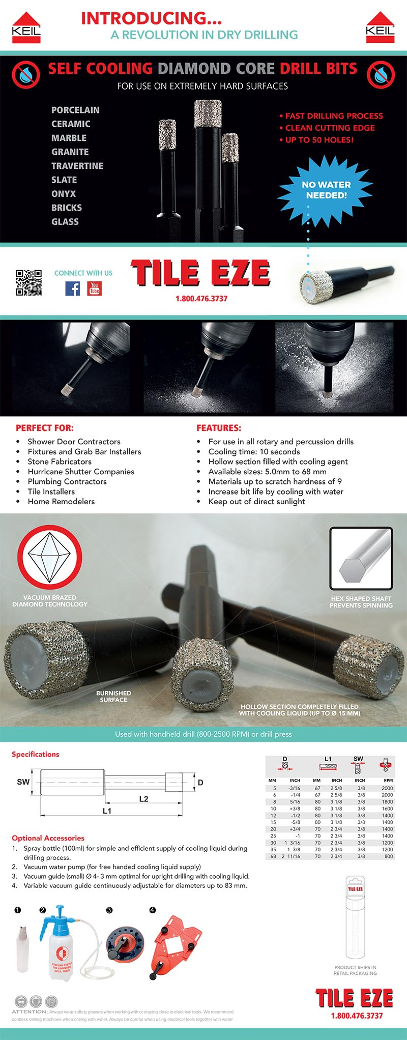 Diamond Core Drill Bit for hard stoneware tiles, roofing tiles, glass, marble, granite and slate