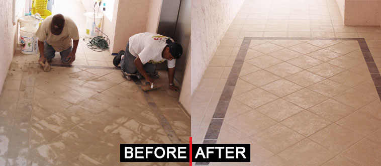before and after tile eze grout clean up machine